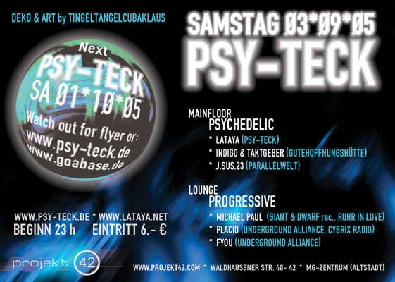 Party Flyer PSY-TECK 3 Sep '05, 23:00