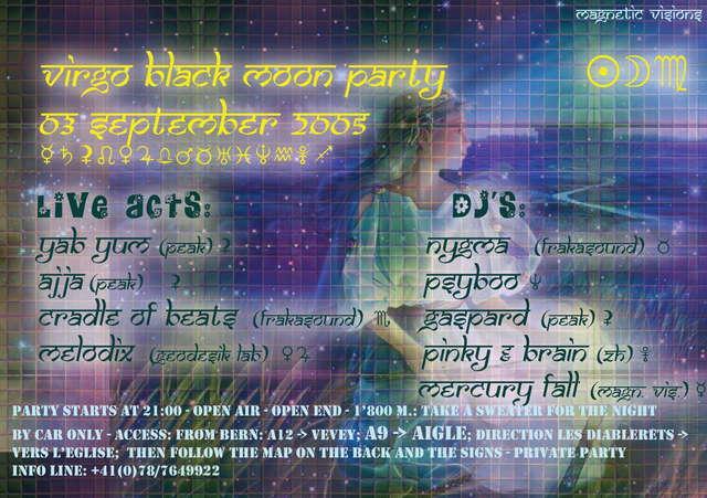 Party Flyer Virgo Black Moon 3 Sep '05, 21:00