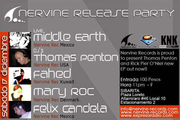 Party Flyer NERVINE RELEASE PARTY IN MEXICO 17 Dec '05, 23:00