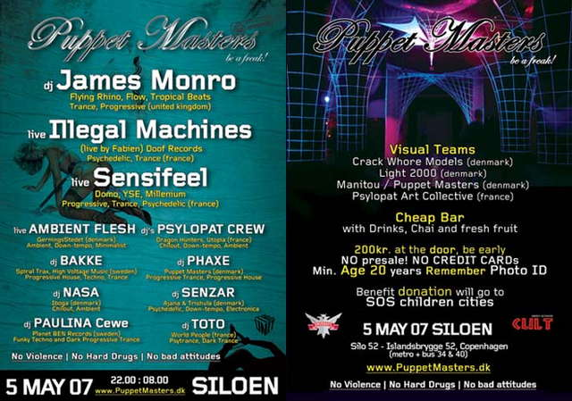 Party Flyer Puppet Masters James Monro 5 May '07, 22:00