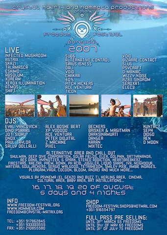 Party Flyer Freedom festival 2007 - Crystal Matrix and Hom-Mega 16 Aug '07, 16:00