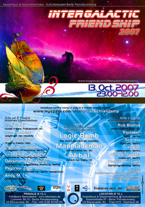 Party Flyer INTER GALACTIC FRIEND SHIP 2007 gala of human individualism 13 Oct '07, 23:00