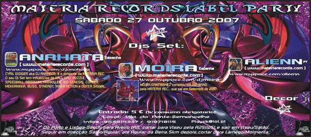 Party Flyer MATERIA RECORDS LABEL PARTY 27 Oct '07, 23:30