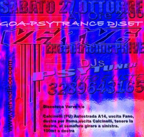 Party Flyer Psy @ Verve Disco - Calcinelli 27 Oct '07, 23:30