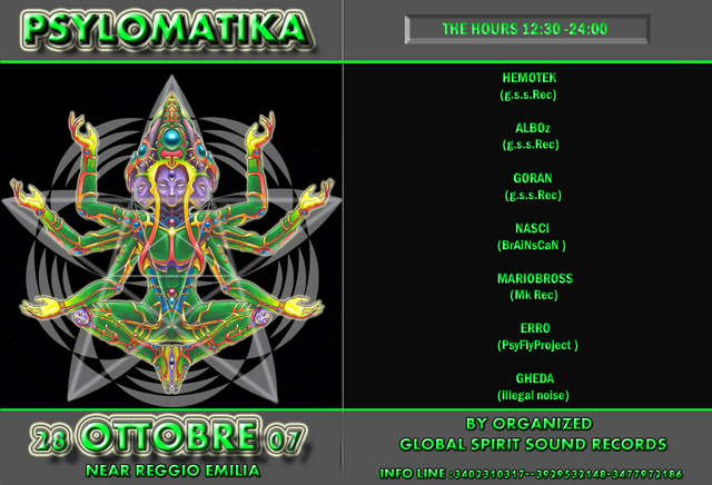 Party Flyer P.S.Y.L.O.M.A.T.I.K.A 28 Oct '07, 12:30