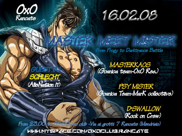 Party Flyer Goanica Pres++++Master Meets Mister Goa NIght ++++ 16 Feb '08, 23:00