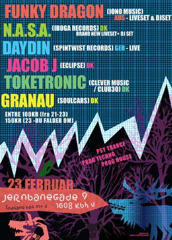 Party Flyer DAYDIN & N.A.S.A. & FUNKY DRAGON 23 Feb '08, 21:00