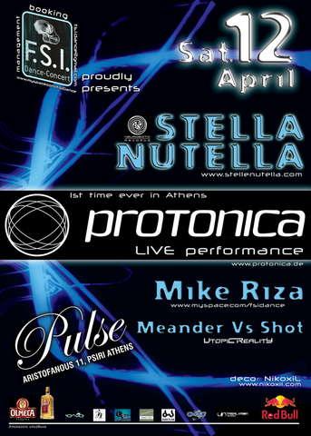 Party Flyer F.S.I. Dance & Concert: PROTONICA live, STELLA NUTELLA 12 Apr '08, 23:30