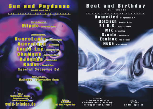 Party Flyer Beat and Birthday feat. Sun and Psydance 7 Jun '08, 23:00