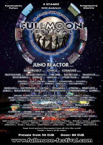 Party Flyer FULLMOON FESTIVAL 16.-21. JULY 2008 GERMANY 16 Jul '08, 23:00