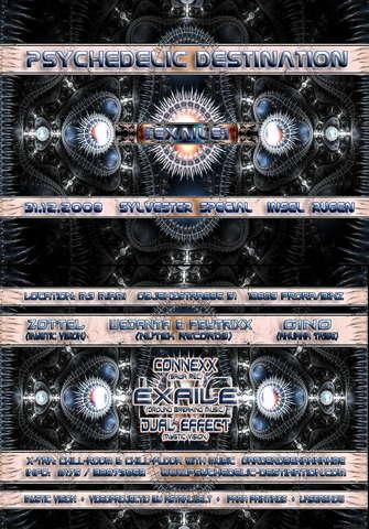 Party Flyer ! Psychedelic Destination - Sylvester Special - EXAILE LIVE 31 Dec '08, 22:00