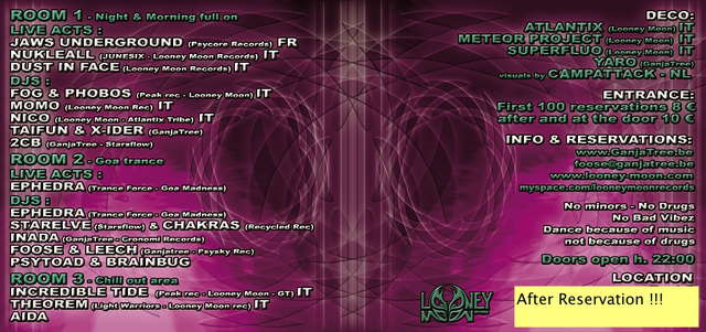 Party Flyer GanjaTree & Looney Moon Recs presents : Purple Visions ! 14 Feb '09, 22:00