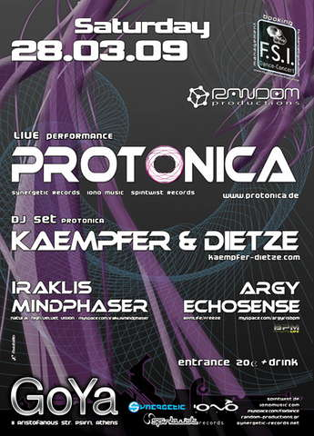 Party Flyer * PROTONICA Live + KAEMPFER & DIETZE DJ Set @ Athens * 28 Mar '09, 23:00