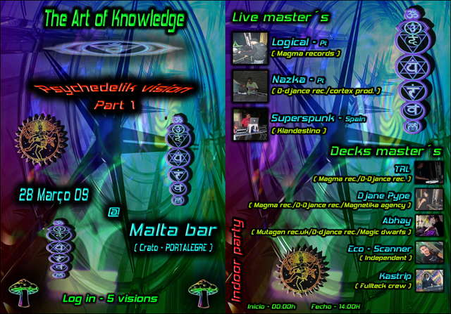 Party Flyer The Art of Knowledge - Psychedelik Vision_Part 1 28 Mar '09, 23:30