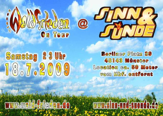 Party Flyer Waldfrieden On Tour im Sinn & Sünde 18 Jul '09, 23:00