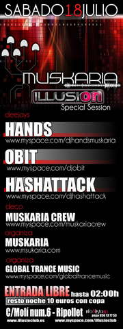 Party Flyer www.muskaria.com :: Muskaria Crew Party @ Illusion Club 18 Jul '09, 23:30