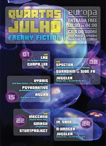 Party Flyer Freaky Fiction @ Europa 22 Jul '09, 23:30