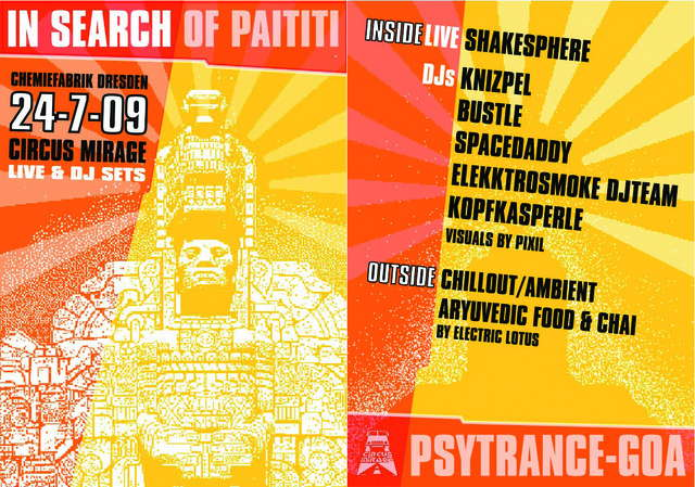Party Flyer in search of Paititi 24 Jul '09, 23:00