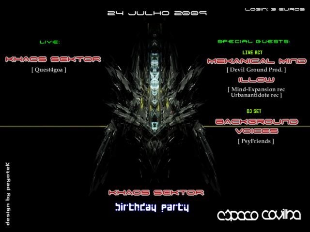 Party Flyer .:: Khaos Sektor .:. Birthday PARTY ::. 24 Jul '09, 01:00