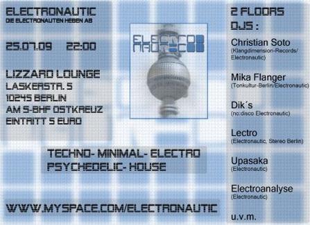 Party Flyer Electronautic @ Lizzard Lounge 25 Jul '09, 22:00