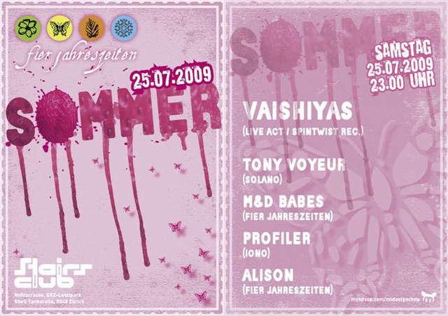 Party Flyer fier jahreszeiten Sommer mit Vaishiyas 25 Jul '09, 23:00