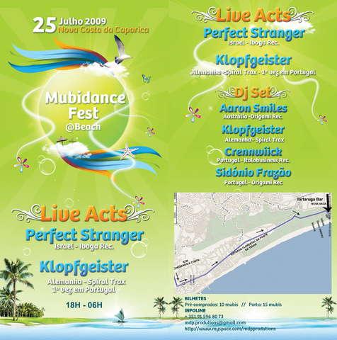 Party Flyer MUBIDANCE FEST @ BEACH PROGRESSIVE VIBES ON!!!! 25 Jul '09, 18:00