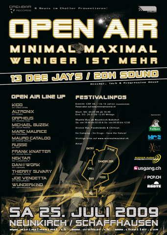 Party Flyer Open Air Minimal Maximal 25 Jul '09, 16:00