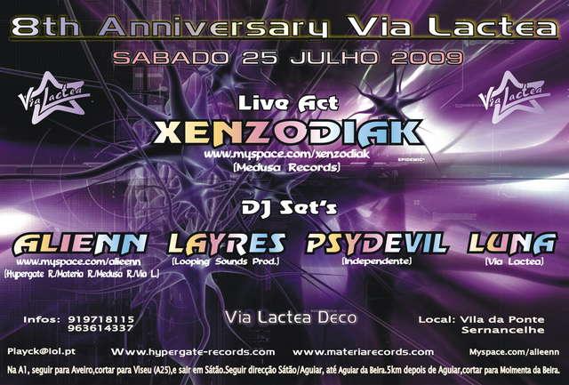 Party Flyer 8th Anniversary Via Lactea 25 Jul '09, 23:30