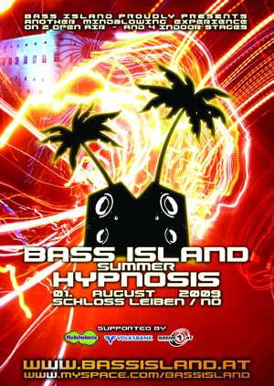 Party Flyer BASS ISLAND HYPNOSIS -Shane Gobi, Mental Broadcast..6 Floors 1 Aug '09, 21:00