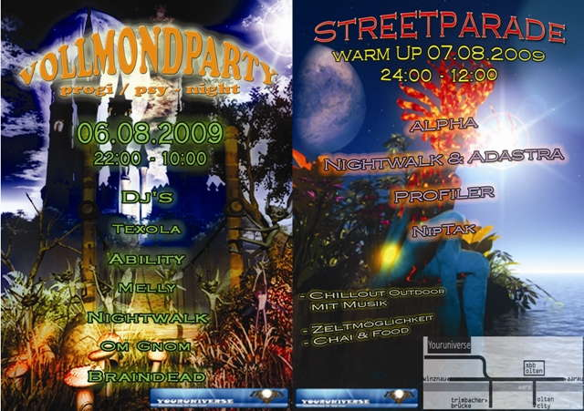 Party Flyer Fullmoon@Youniverse & Warm Up Street Parade 6 Aug '09, 22:00