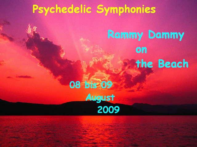 Party Flyer Psy. Symphonie´s * Rammy Dammy on the Beach * 8 Aug '09, 22:00