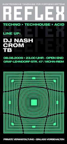 Party Flyer REFLEX - Elektronische Tanzmusik für Fortgeschrittene 8 Aug '09, 23:00