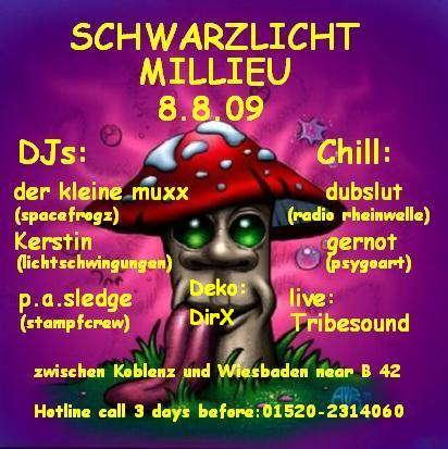 Party Flyer SCHWARZLICHTMILLIEU meets RHEINGAU ART 8 Aug '09, 22:00