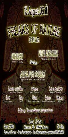 Party Flyer *°*° FREAKS OF NATURE OA *°*° OA & INDOOR FLOOR 15 Aug '09, 21:00