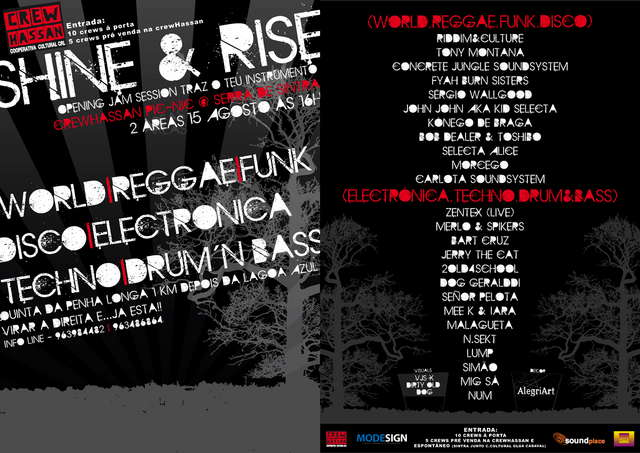 Party Flyer SHINE & RISE-CrewHassan Pic_nIc @ Serra Sintra 15 Aug '09, 16:00
