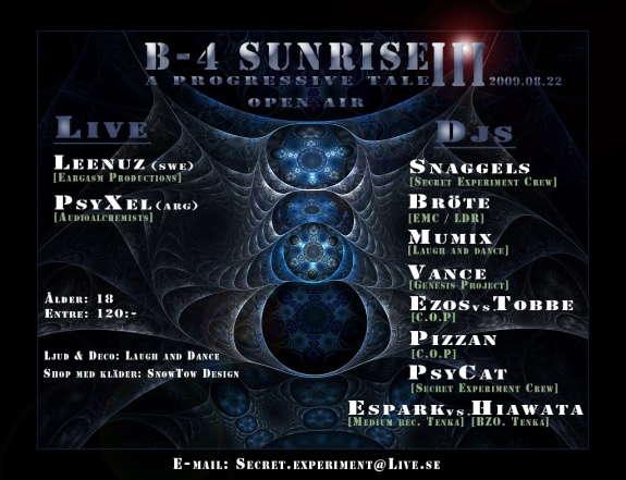 Party Flyer B-4 SUNRISE III - A progressive tale 22 Aug '09, 20:00