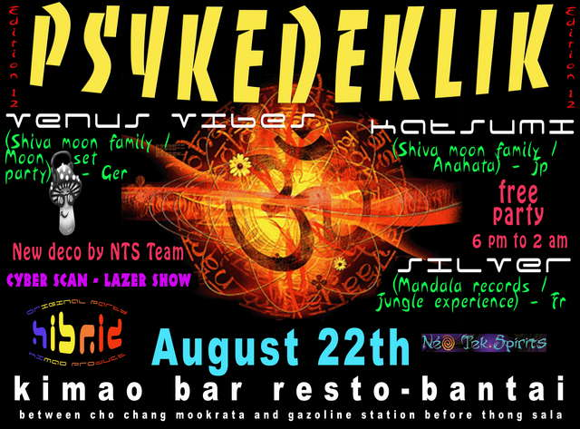 Party Flyer Psykedeklik 22 Aug '09, 18:00