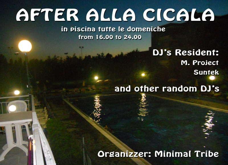 Party Flyer **AFTER alla CICALA** MI DISP. L'ATER SALTA XCHè PIOVE 30 Aug '09, 16:00