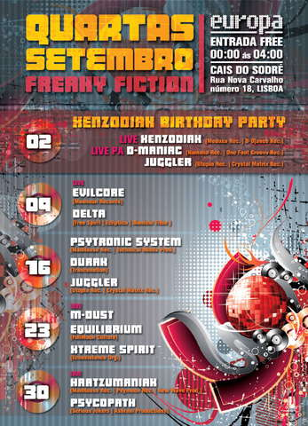 Party Flyer Freaky Fiction @ Europa 2 Sep '09, 23:30
