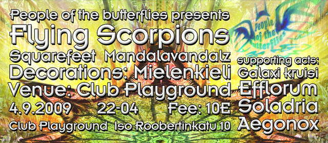 Party Flyer POTB pres. FLYING SCORPIONS 4 Sep '09, 22:00