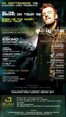 Party Flyer ::: ESKIMO ON TOUR '09 - BARCELONA ::: 5 Sep '09, 23:30