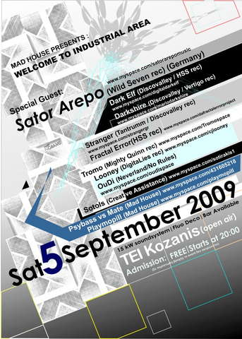 Party Flyer ++++Welcome To Industrial Area++++ 5 Sep '09, 20:00