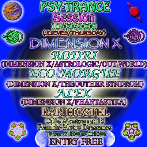 Party Flyer DIMENSION X 10 Sep '09, 21:00