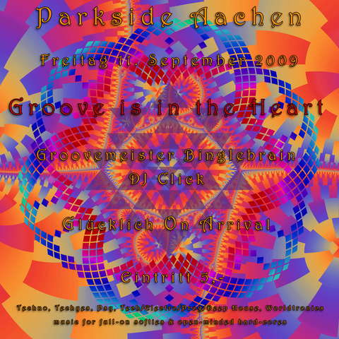 Party Flyer Groove is in the Heart - Glücklich On Arrival 11 Sep '09, 20:00