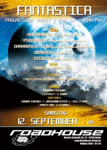 Party Flyer FANTASTICA THE CLUB 12 Sep '09, 23:00