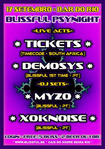 Party Flyer BLISSFUL TICKETS LIVE @ BAR DO RIO 17 Sep '09, 22:00