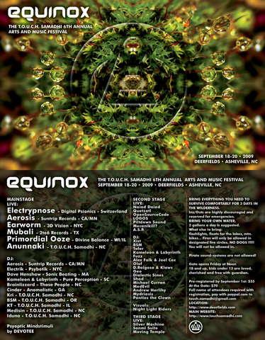 Party Flyer EQUINOX: THE T.O.U.C.H. SAMADHI 6TH ANNUAL ARTS & MUSIC FEST 18 Sep '09, 12:00