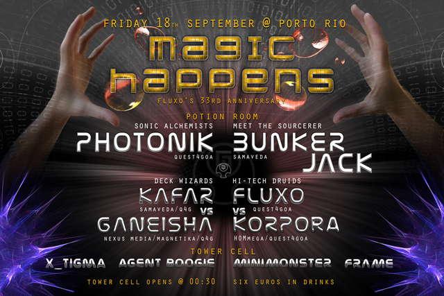 Party Flyer Magic Happens - Fluxo's 33rd anniversary ritual 18 Sep '09, 23:30