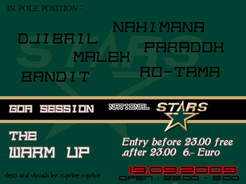 Party Flyer Goa Session National Stars Warm up 19 Sep '09, 22:30