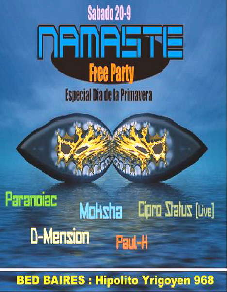 Party Flyer Namaste Free Party 19 Sep '09, 23:30
